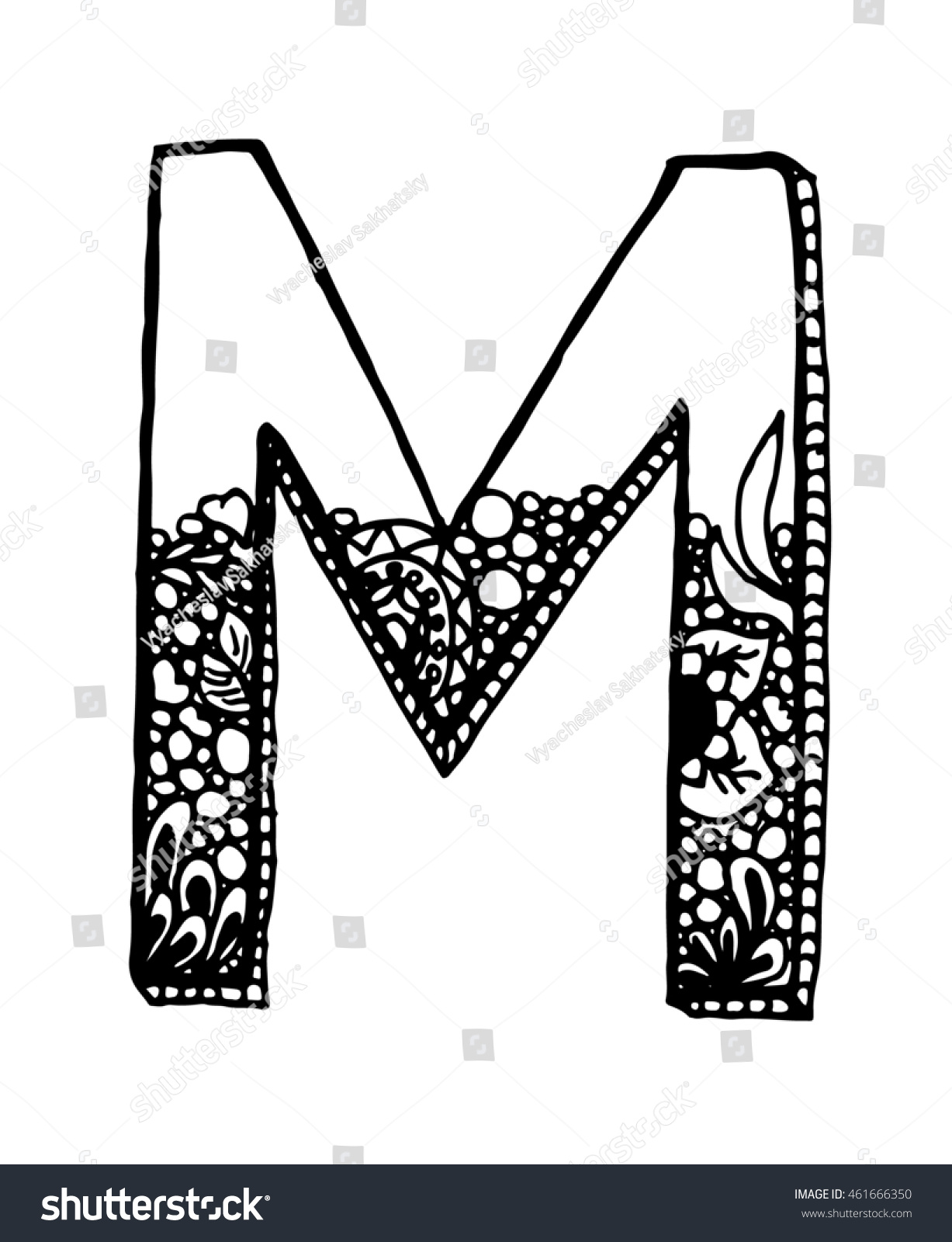 Letter M With Ornament On White Background Free Hand Drawn Vector