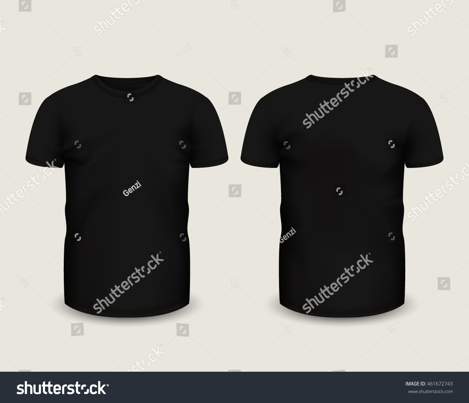 Black t shirt short sleeve - Men S Black T Shirt With Short Sleeve In Front And Back Views Vector Template