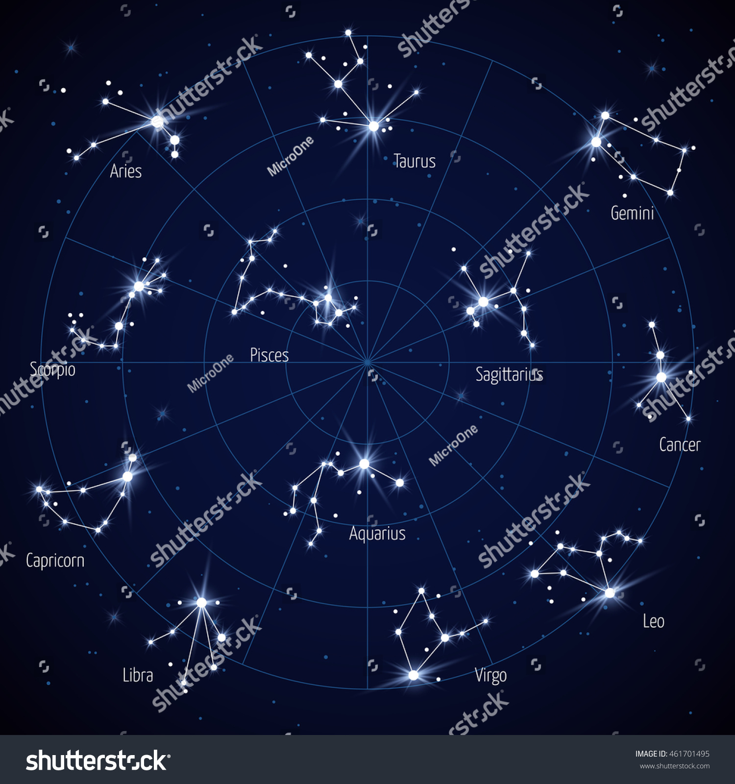 Vector Sky Star Map Constellations Stars Stock Vector - Space map