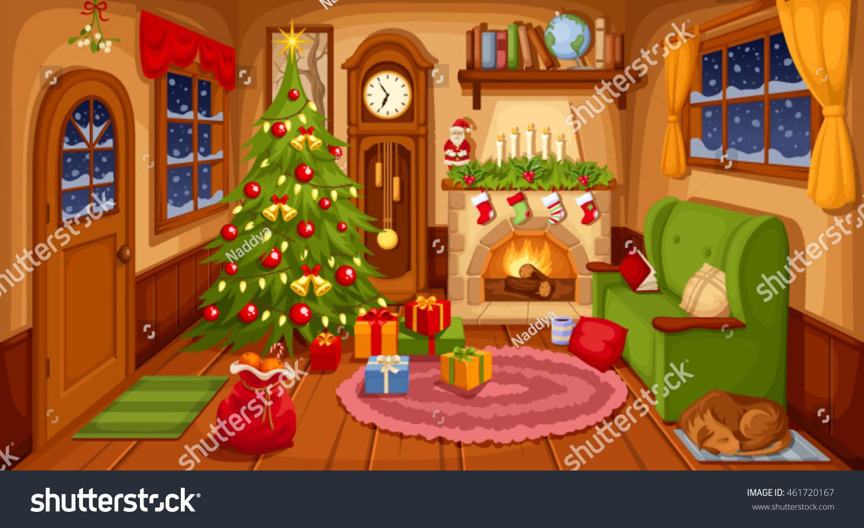 Xmas Living Room Vector Illustration Christmas Living Room Sofa Stock Vector