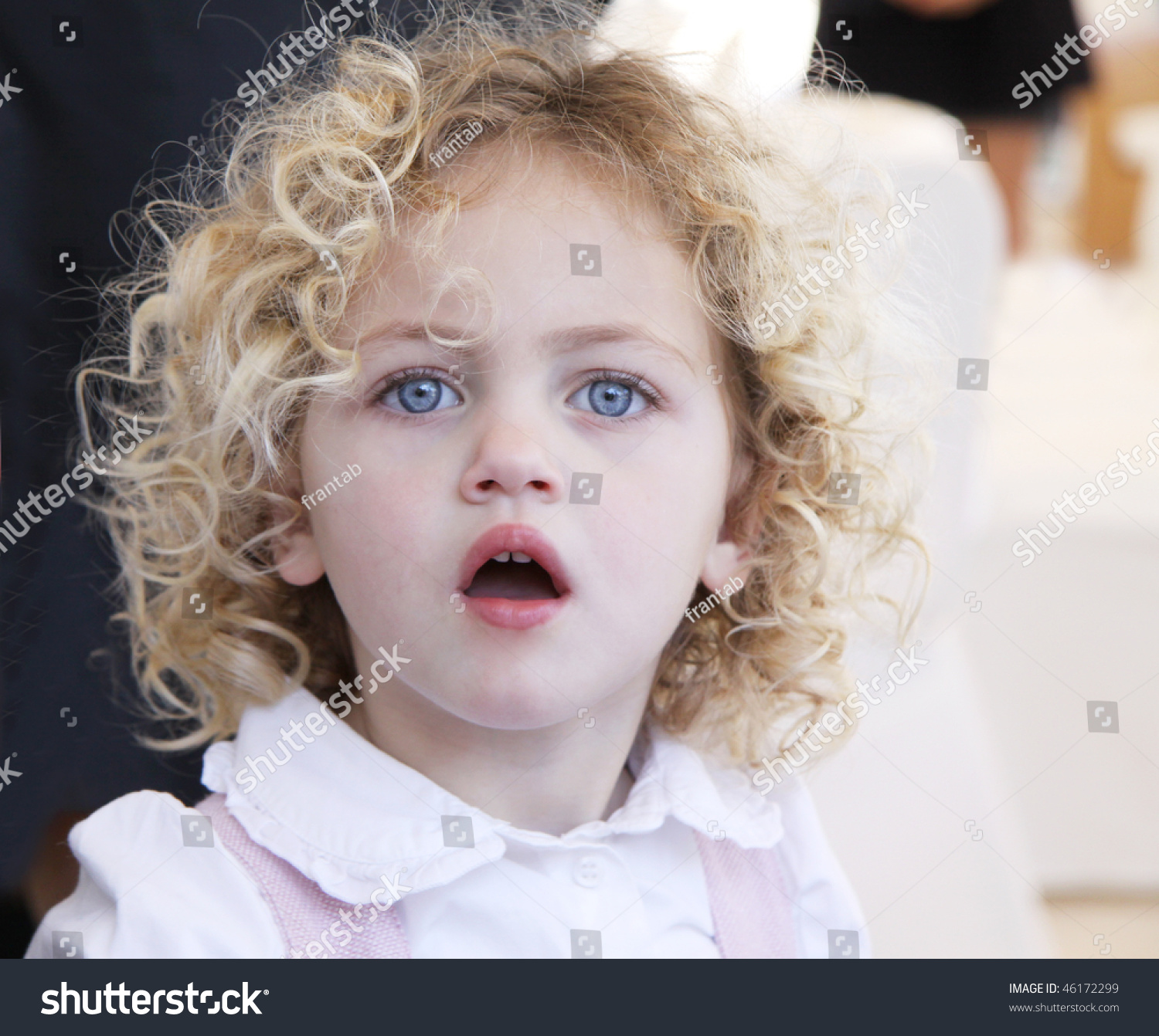 portrait pretty toddler blue eyes blonde stock photo