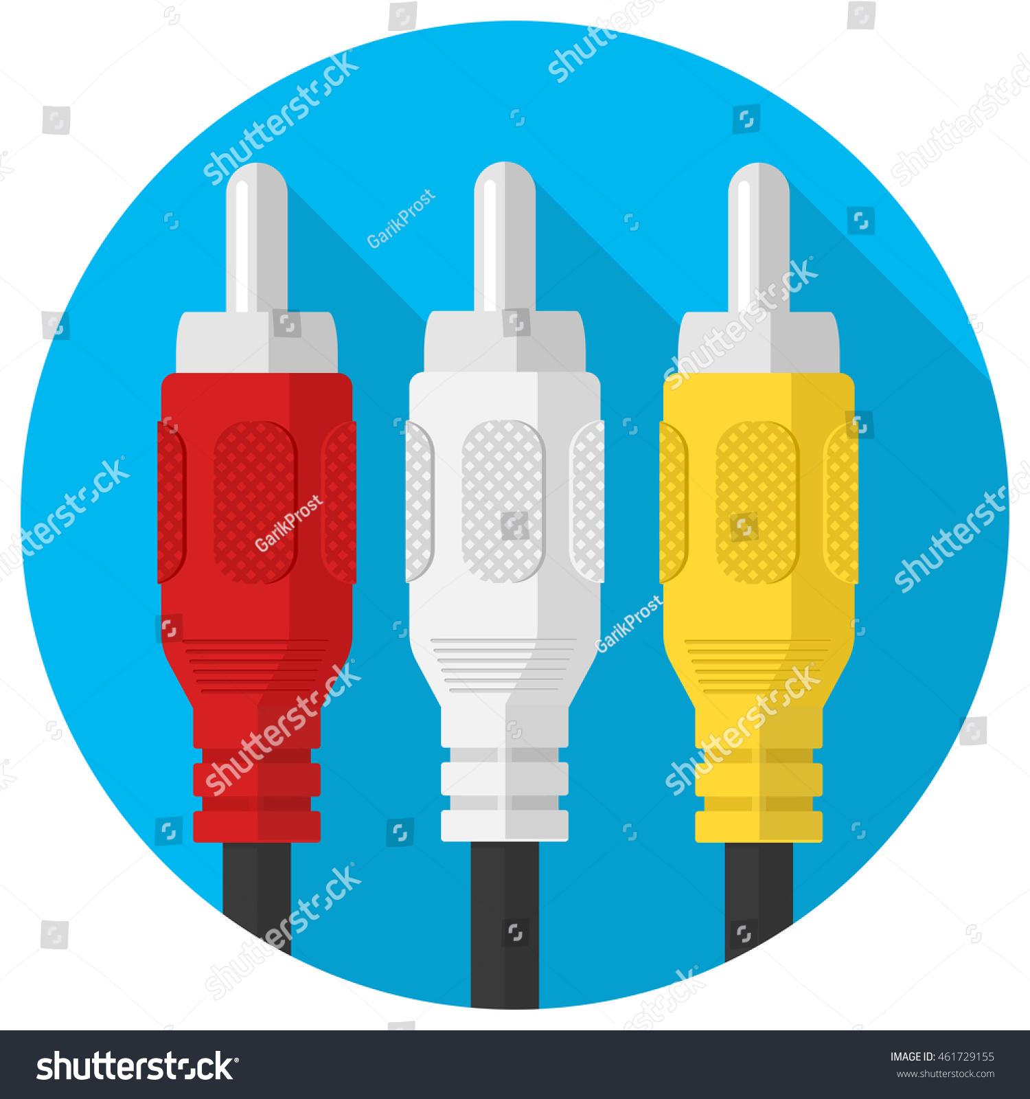 Vector Rca Three Cable Plug Icon Stock Vector (Royalty Free ...