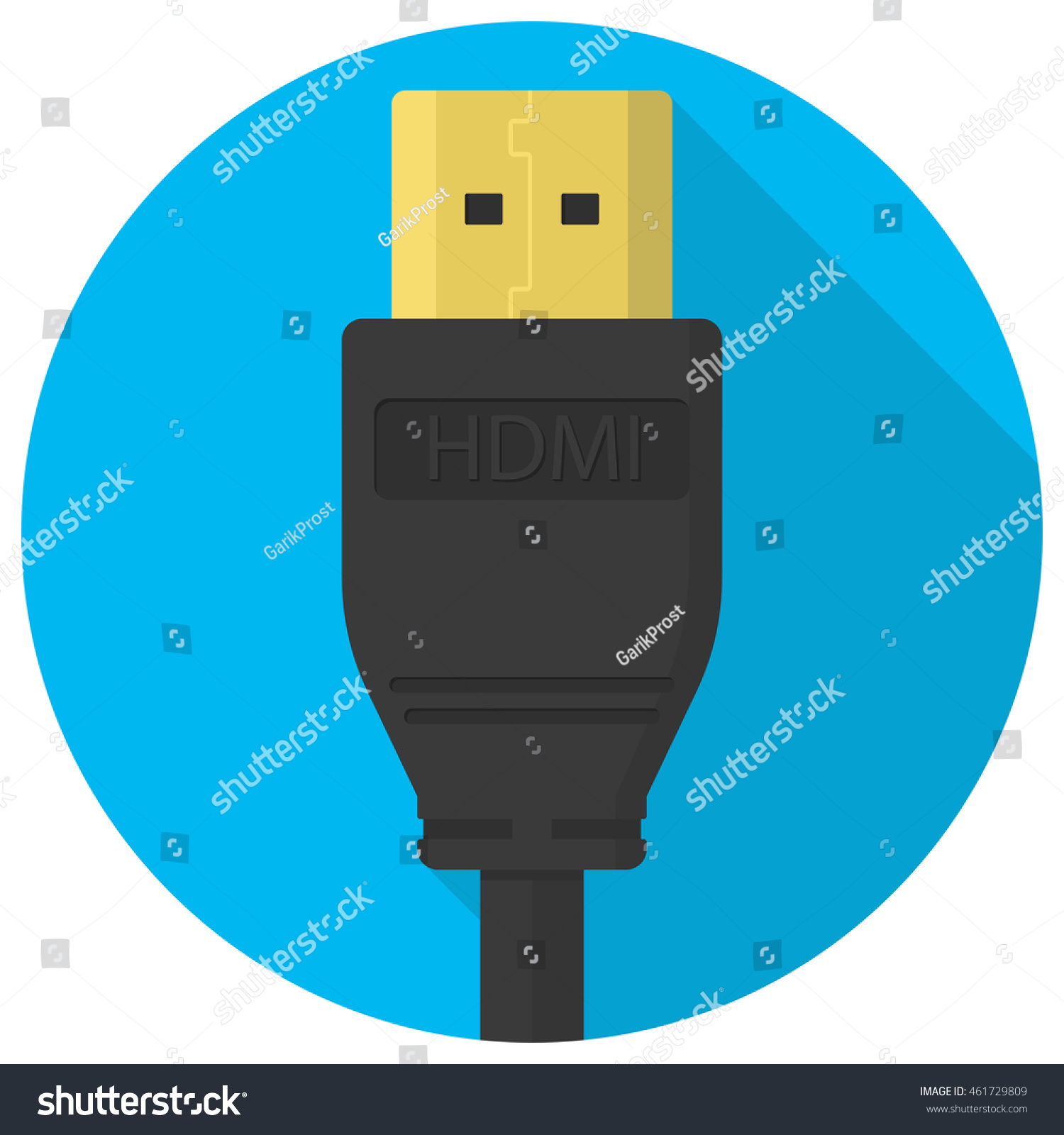 Vector Hdmi Cable Plug Icon Flat Stock Vector (Royalty Free ...