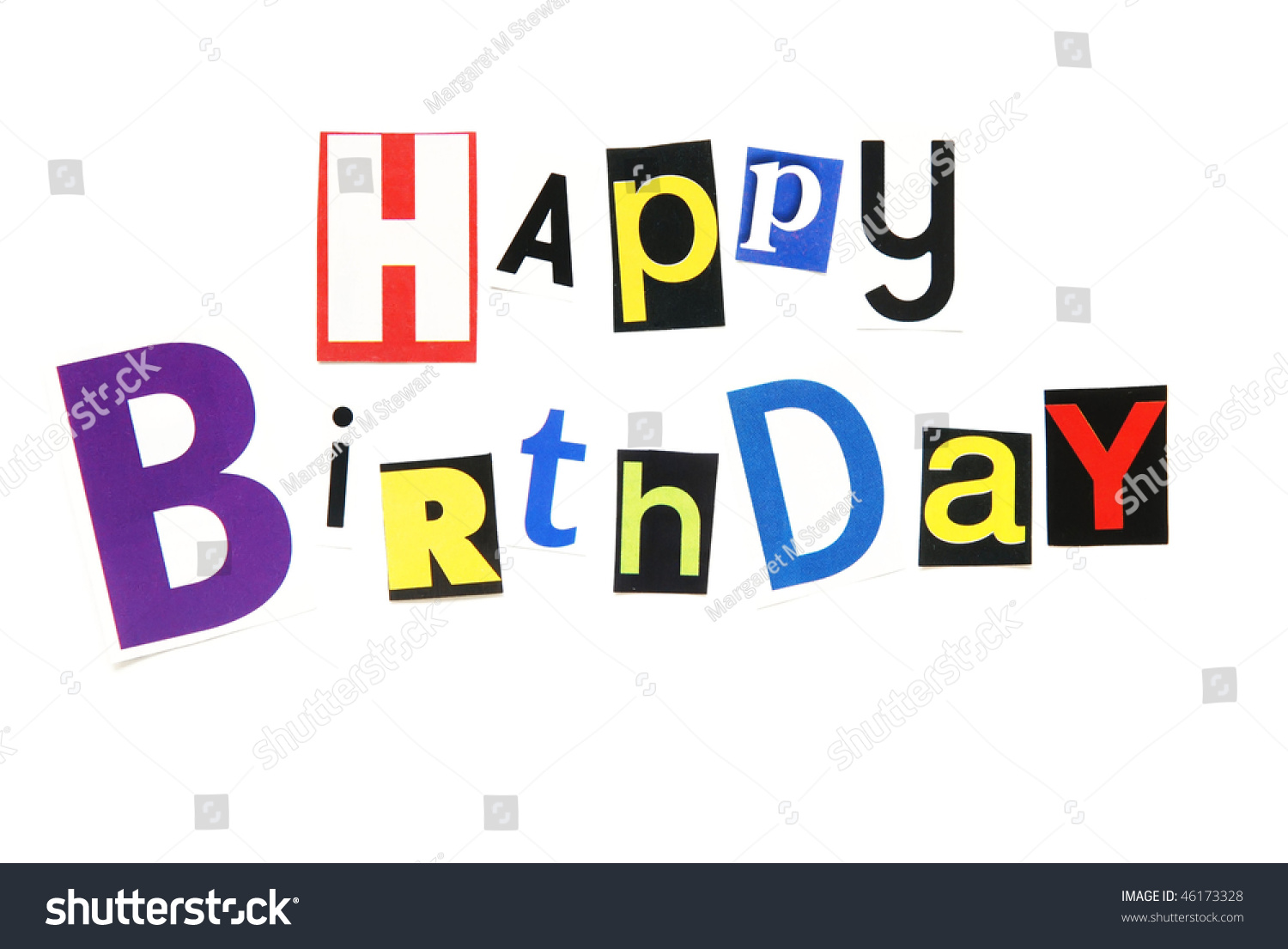 Happy Birthday Ransom Note Style Stock Photo 46173328