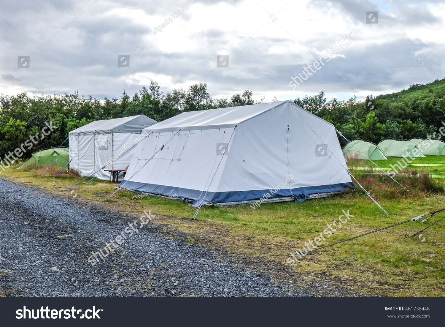 Big white tent for facilities with small tent in forest. & Big White Tent Facilities Small Tent Stock Photo 461738446 ...