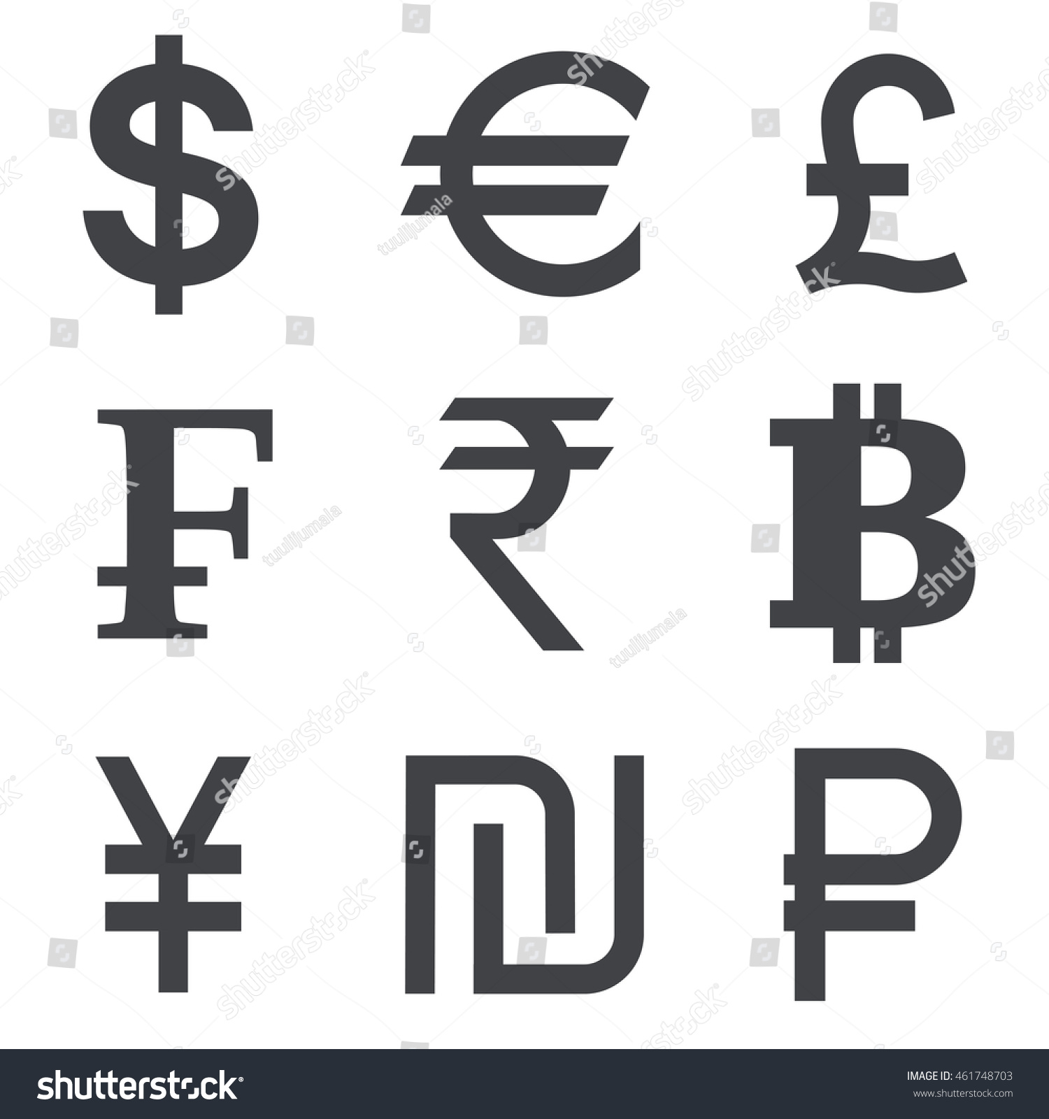 Currency vector icon set isolated on stock vector 461748703 currency vector icon set isolated on white background collection of currency symbols dollar biocorpaavc Image collections