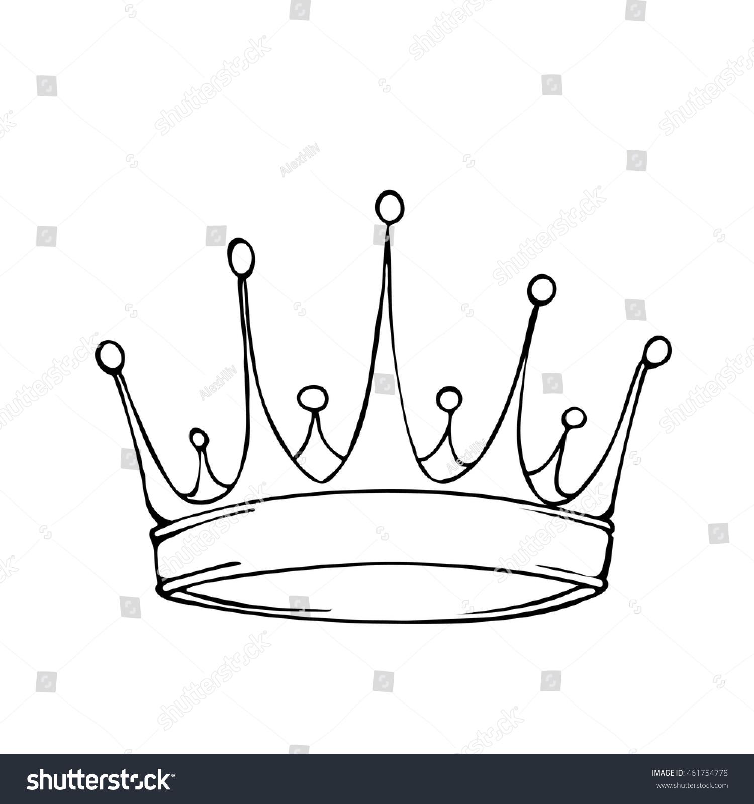 Golden King Crown Hand Drawn Vector Stock Vector 461754778