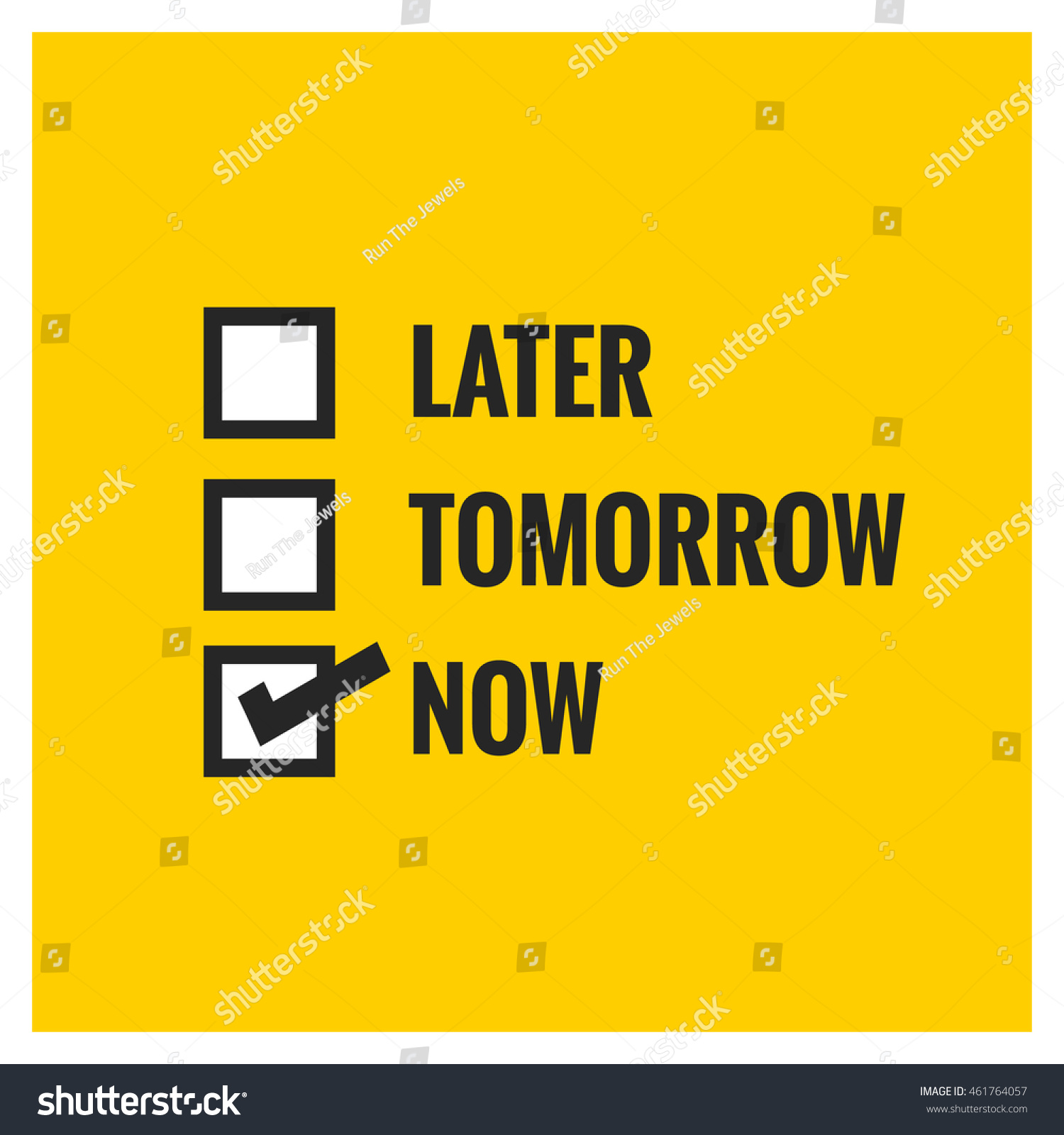 Later Tomorrow Now Tick Boxes Procrastination Concept (Vector Illustration Design)