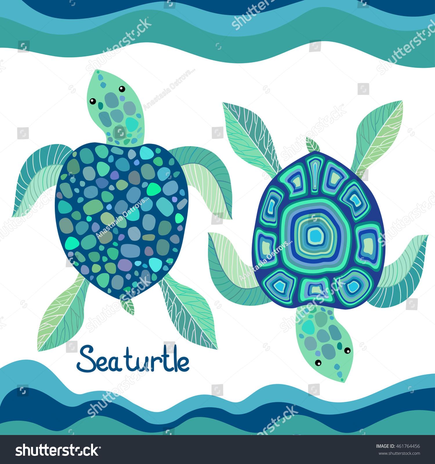 set sea turtles decorative pattern vector stock vector royalty free