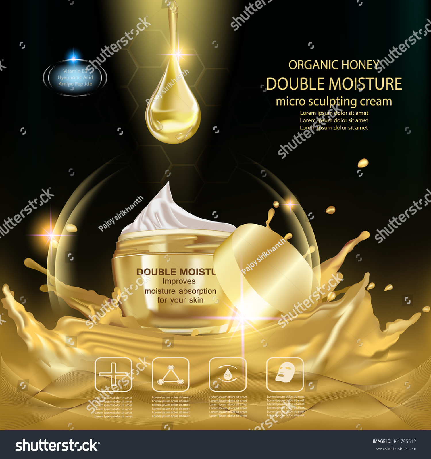 Double moisture cream Improves moisture absorption for skin in the gold jar above gold splash water