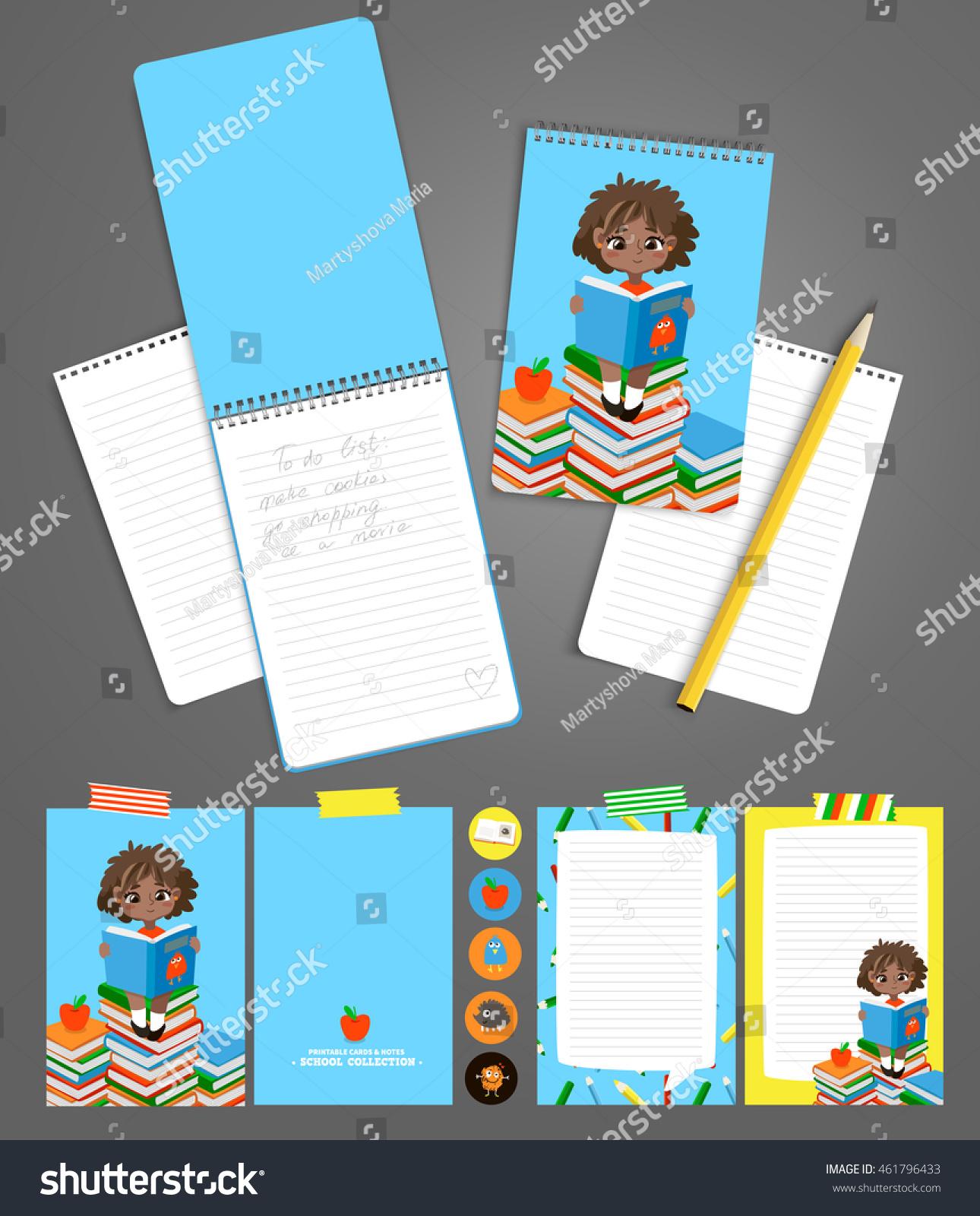 Back School Set Pupils Read Textbook Stock Vector 461796433 ...