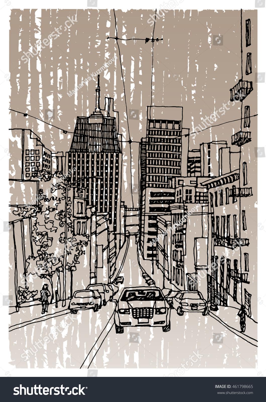 Scene Street Illustration Hand Drawn Ink Stock Vector 461798665 ...