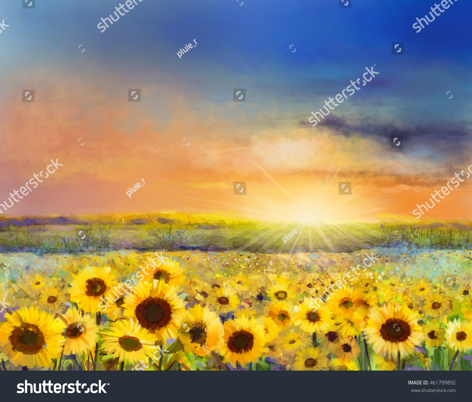 Sunflower flower blossom.Oil painting of a rural sunset landscape with a golden sunflower field Warm light of the sunset and hill color in orange and blue color at the background