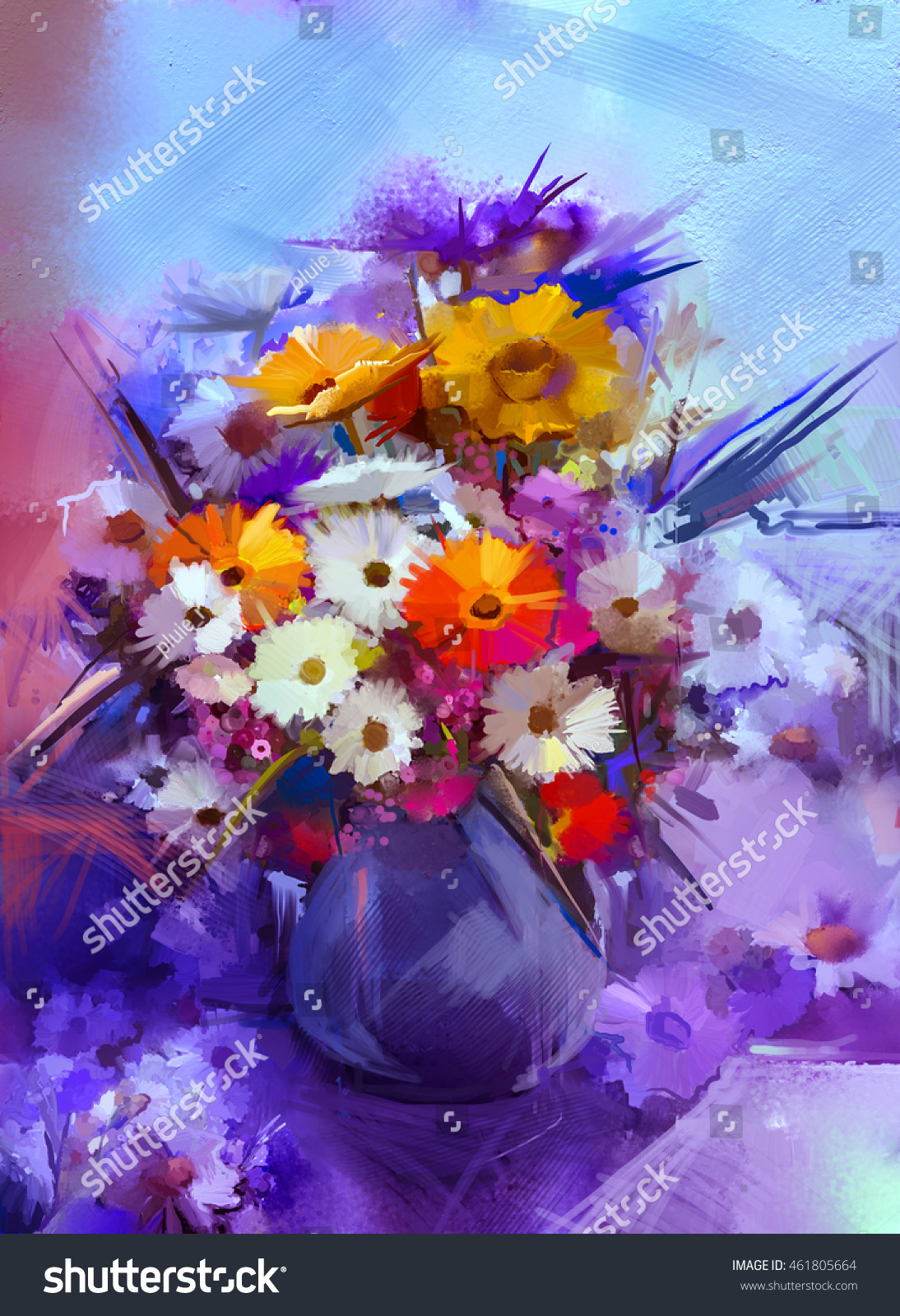 Oil painting flowers vase hand paint stock illustration 461805664 oil painting flowers in vase hand paint still life bouquet of whiteyellow and izmirmasajfo