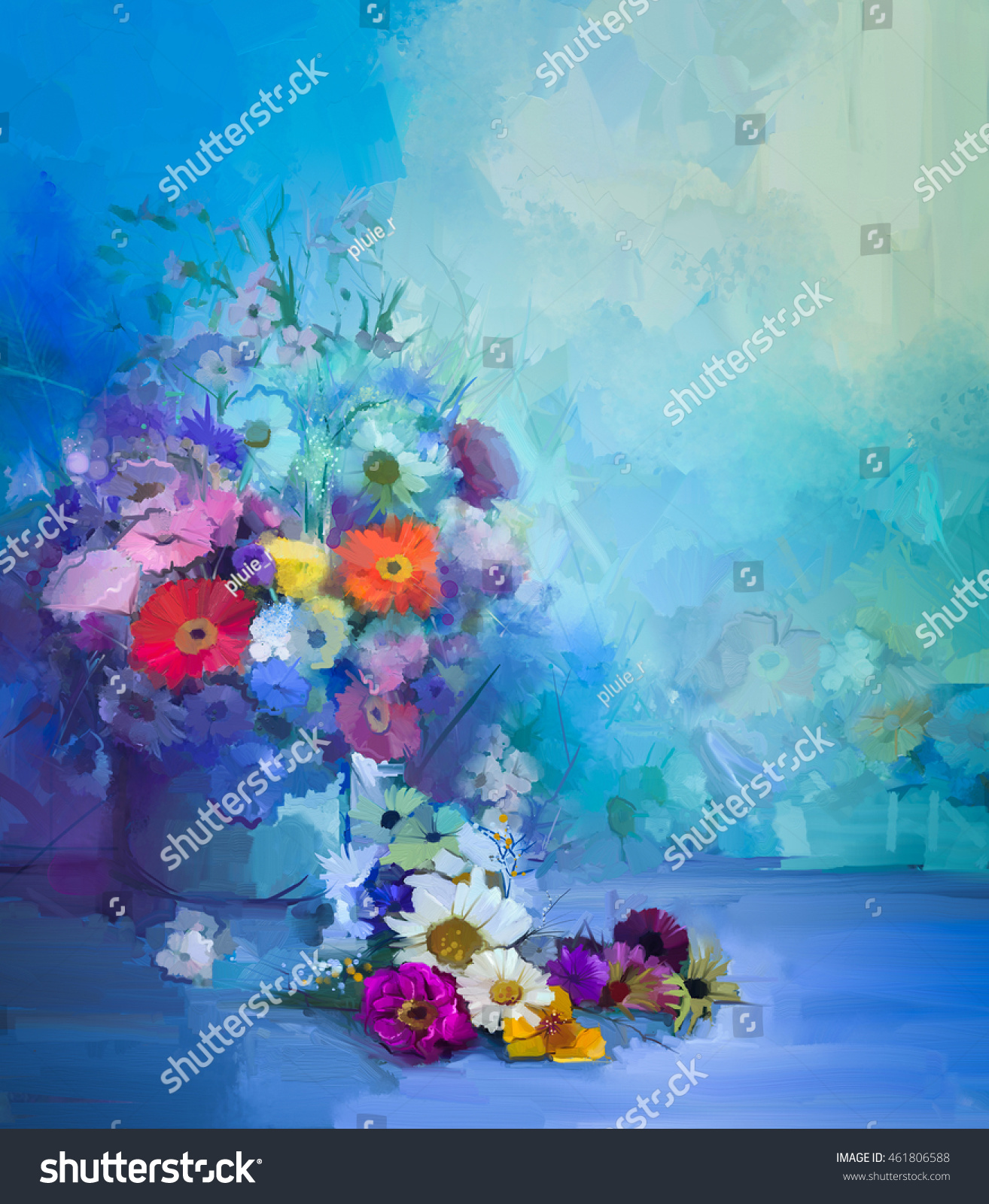 Oil painting flowers vase hand paint stock illustration 461806588 oil painting flowers in vase hand paint still life bouquet of whiteyellow and izmirmasajfo