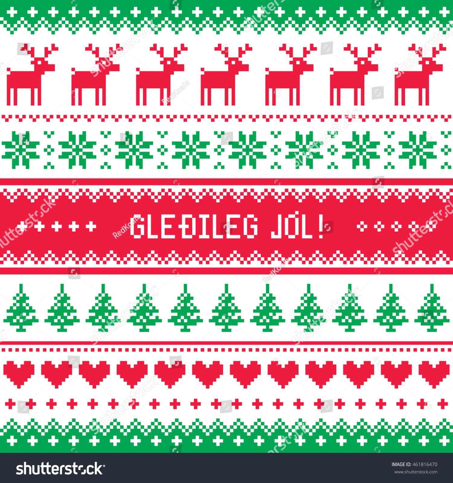 gledileg jol merry christmas in icelandic pattern greetings card - Merry Christmas In Icelandic