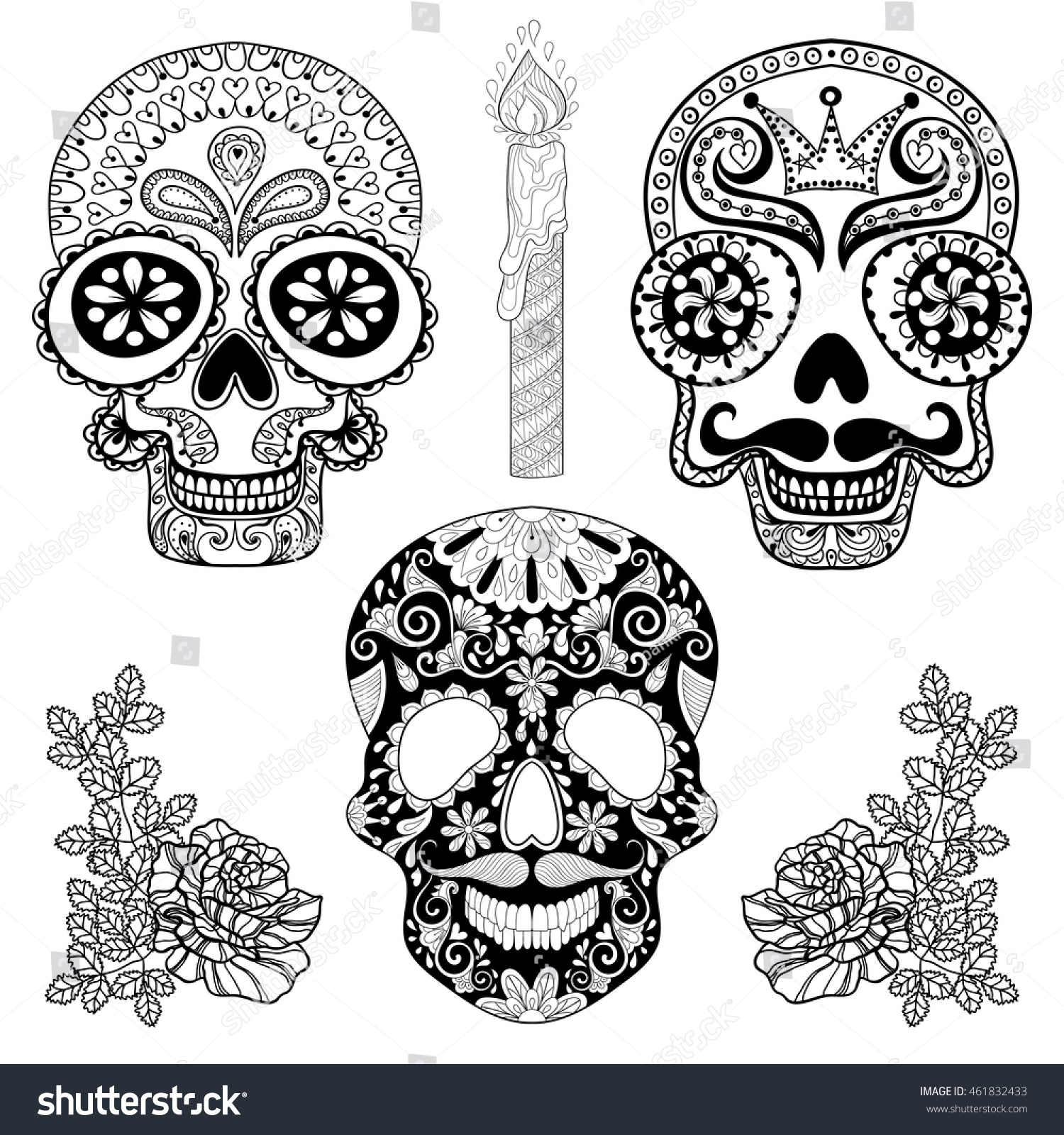 Zentangle Stylized Patterned Skulls Set Candle Stock Vector ...