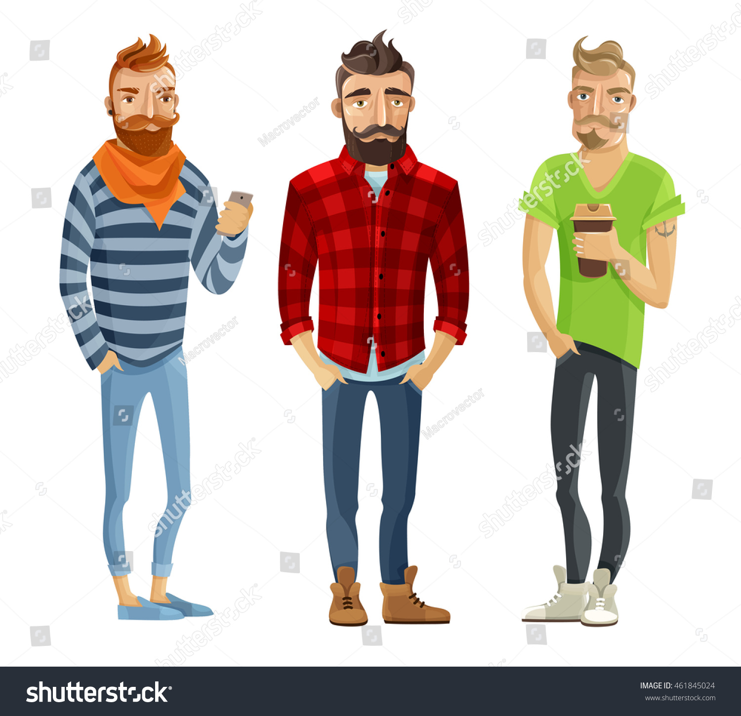 Hipster Cartoon Male People Wearing Trendy Stock Vector