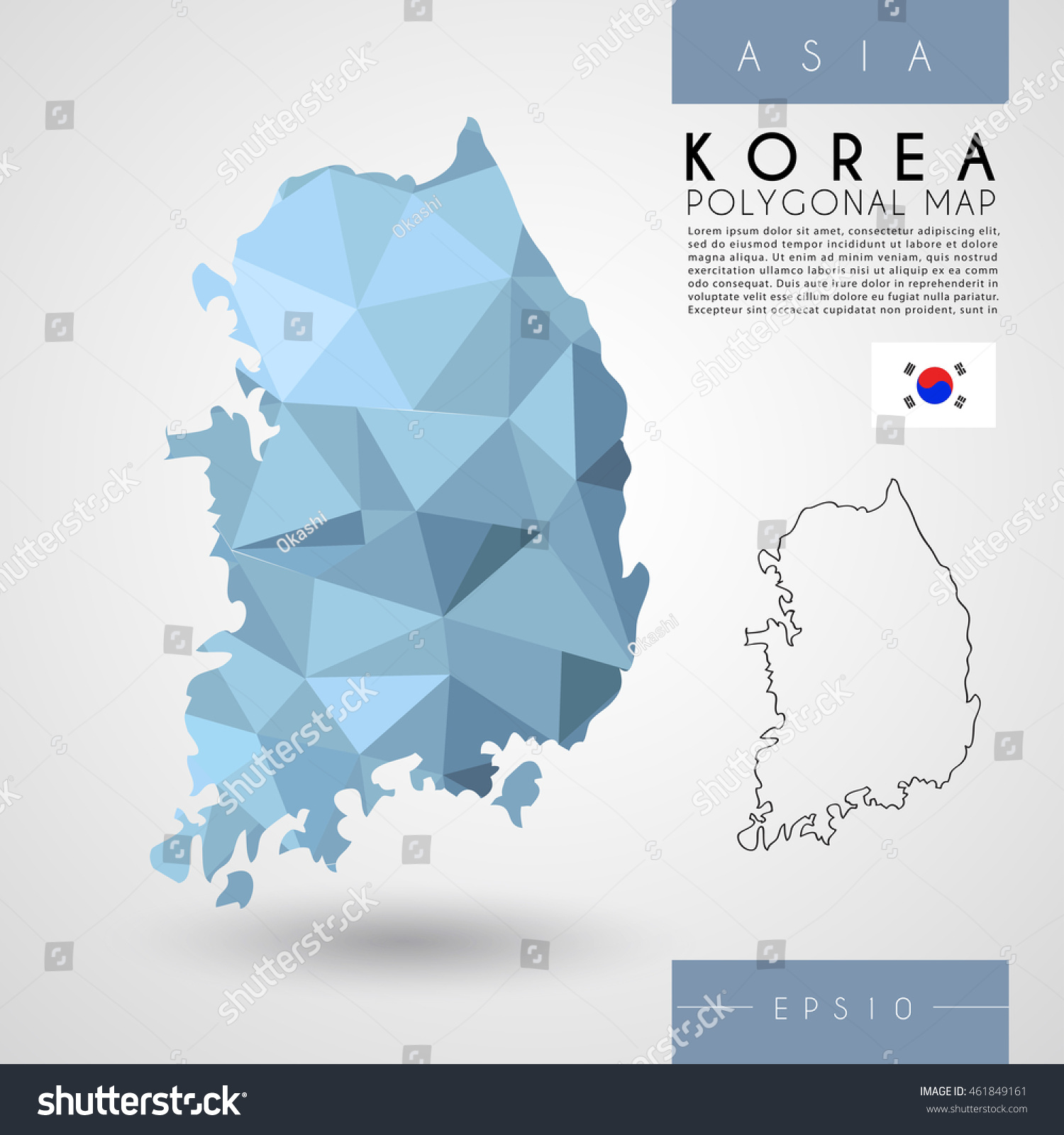 South korea low poly map vector stock vector 461849161 shutterstock south korea low poly map vector illustration gumiabroncs Images