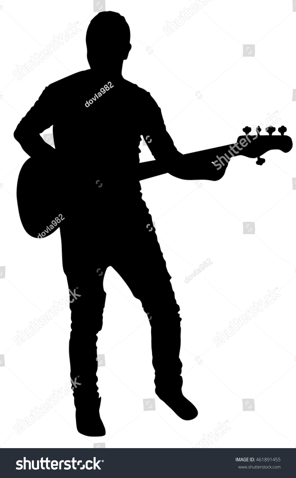 Guitarist Vector Silhouette Illustration Isolated On White Background Popular Music Super Star Stage