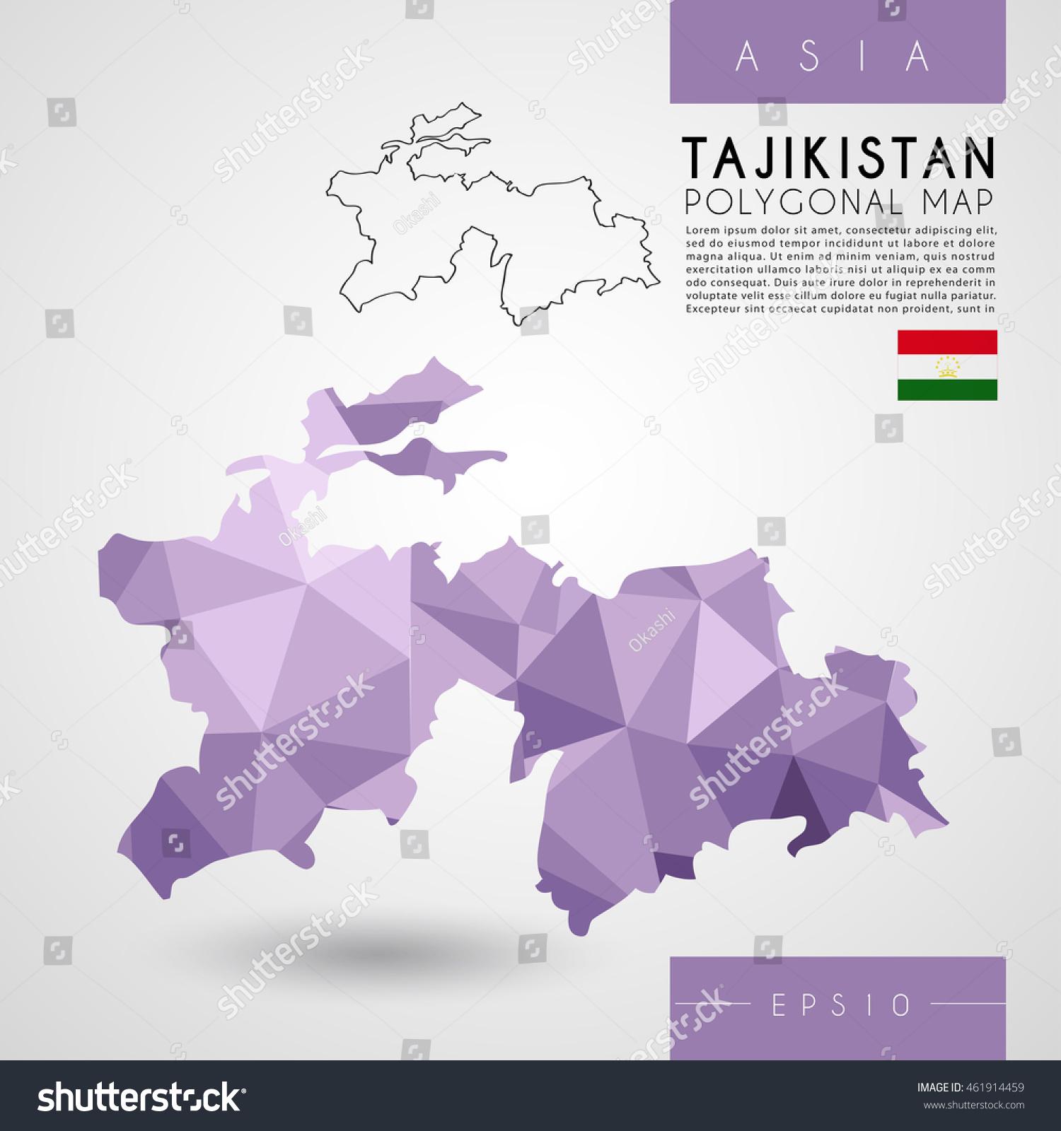 Tajikistan Low Poly Map Vector Illustration Stock Vector - Tajikistan map vector