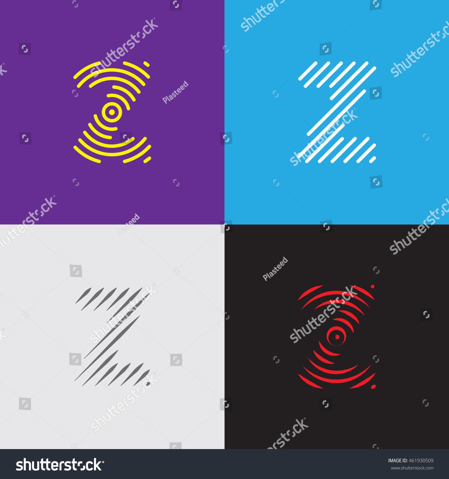 Line Art Logo Set Letter Z Stock Vector 461930509
