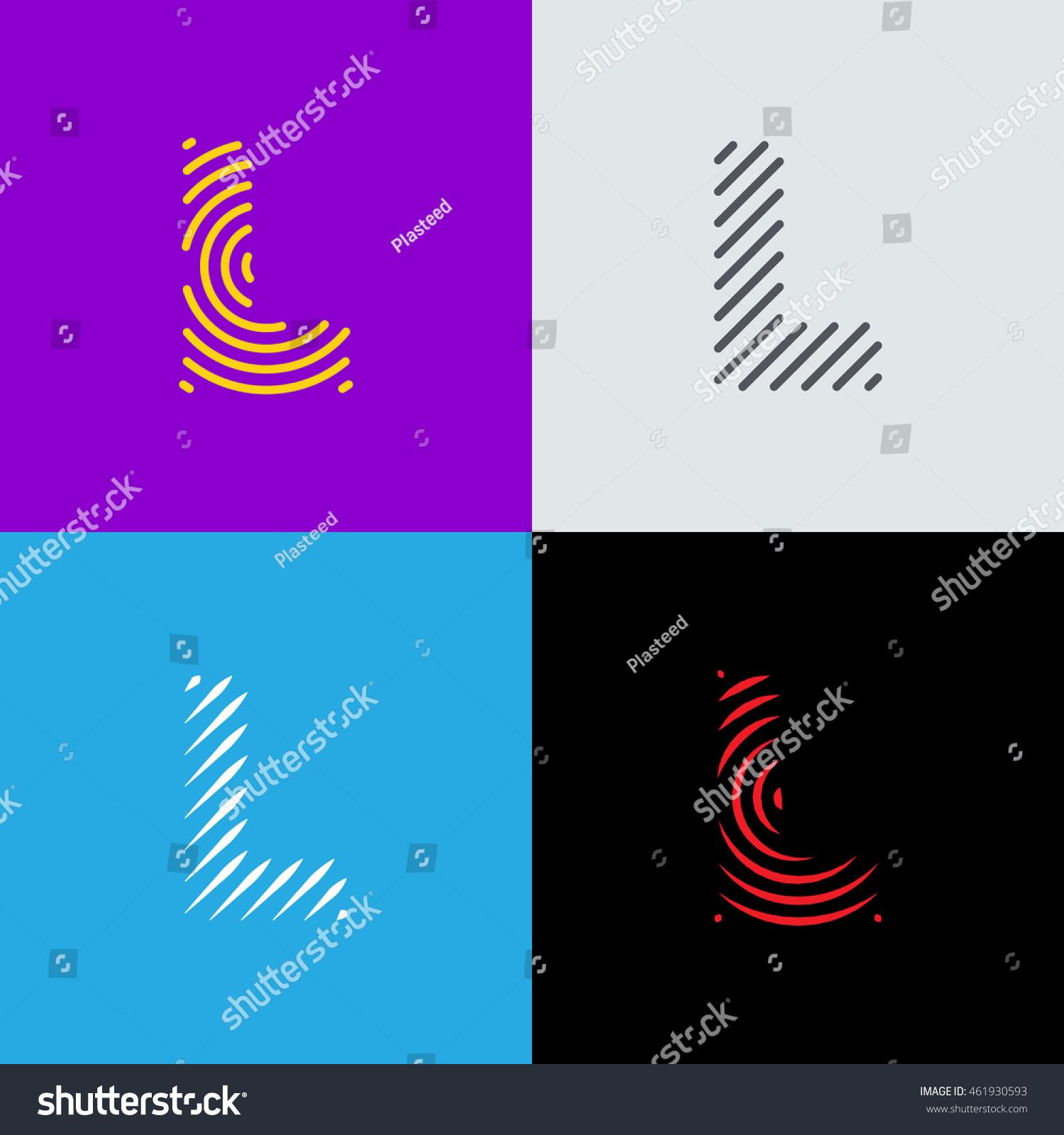 Line Art Logo Set Letter L Stock Vector Shutterstock