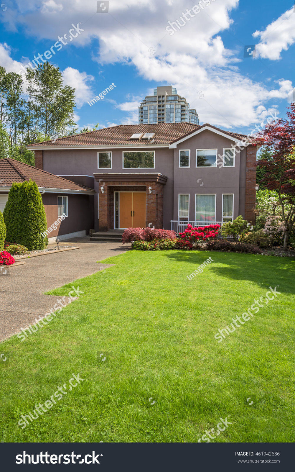 residential house concrete pathway over front stock photo