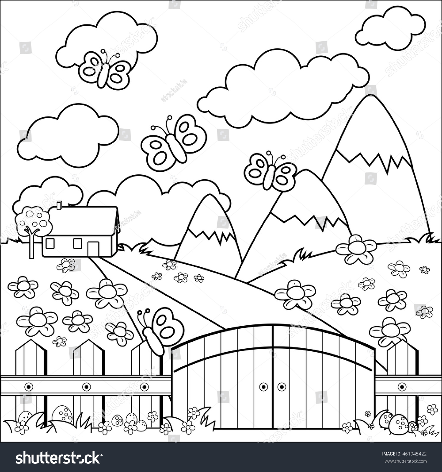 Small Country House Meadow And Wooden Fence Coloring Book Page
