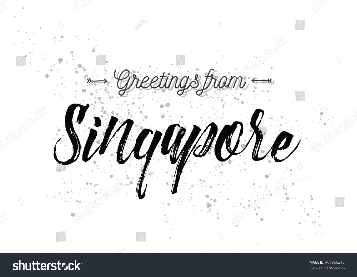 Greetings Singapore Greeting Card Typography Lettering Stock Vector