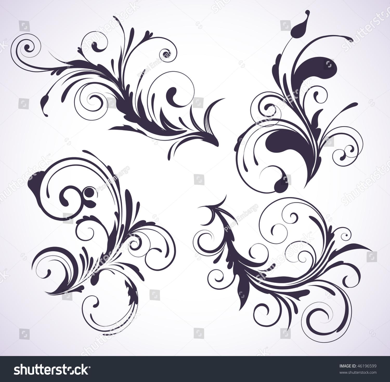 Vector Illustration Set Four Swirling Flourishes Stock Vector