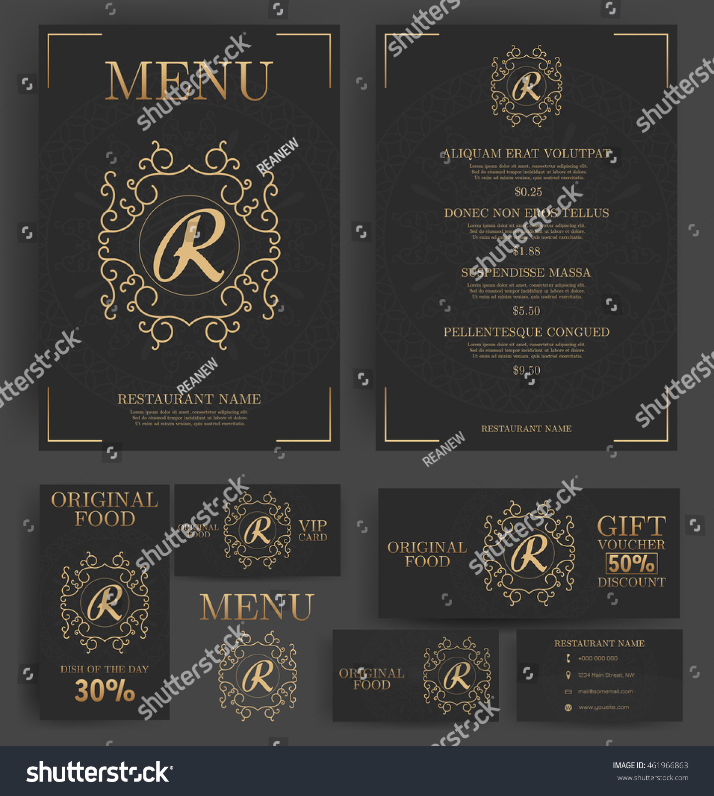 Restaurant Menu Template Elegant Black Luxury Stock Vector (Royalty ...