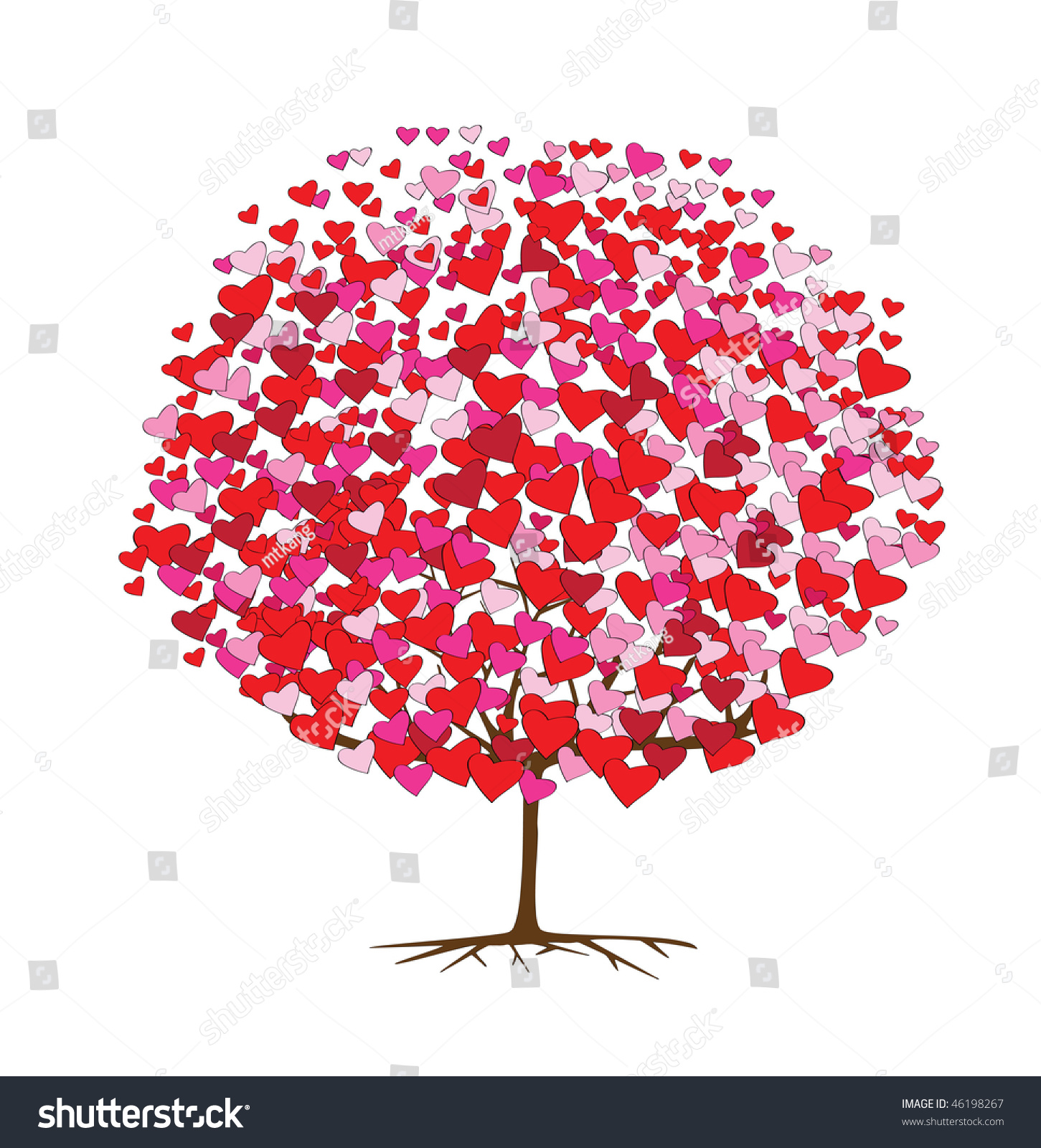 Tree Hearts Valentines Day Stock Vector Royalty Free 46198267