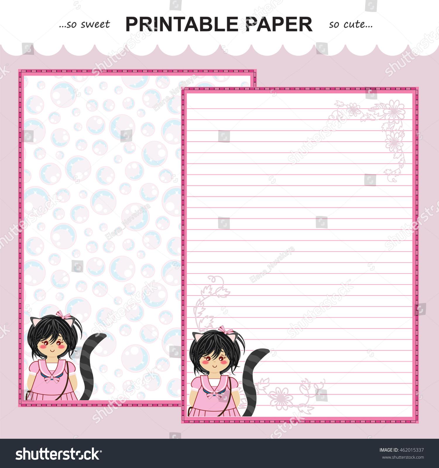 vector printable letter paper stationery flat のベクター画像素材