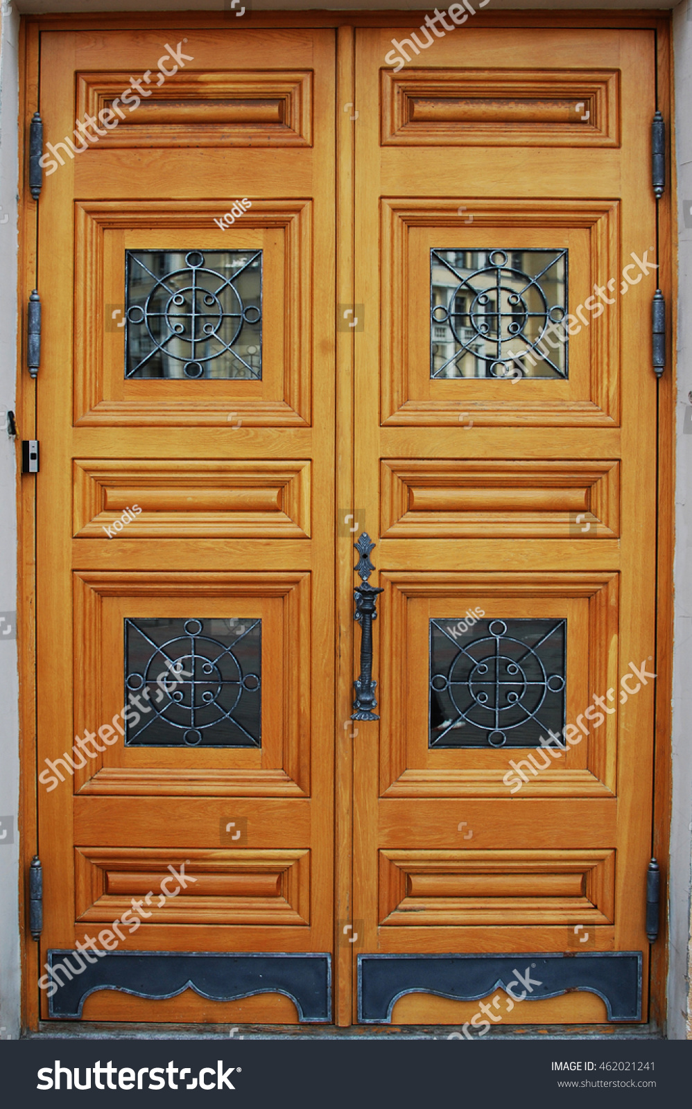 Front Carved Wooden Door Glass Inserts Stock Photo Edit Now