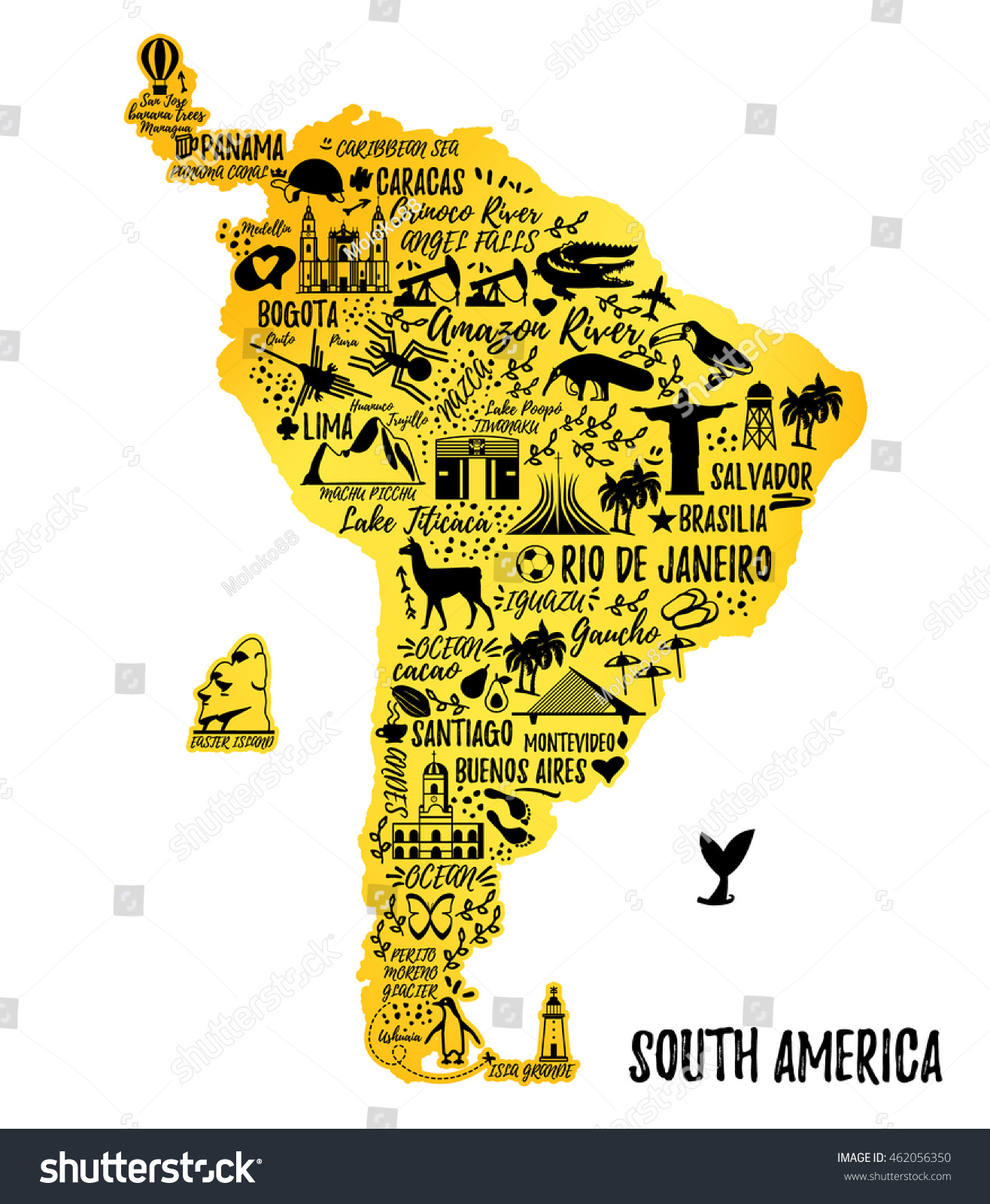 Typography Poster South America Map South Vector 462056350 – South America Travel Map
