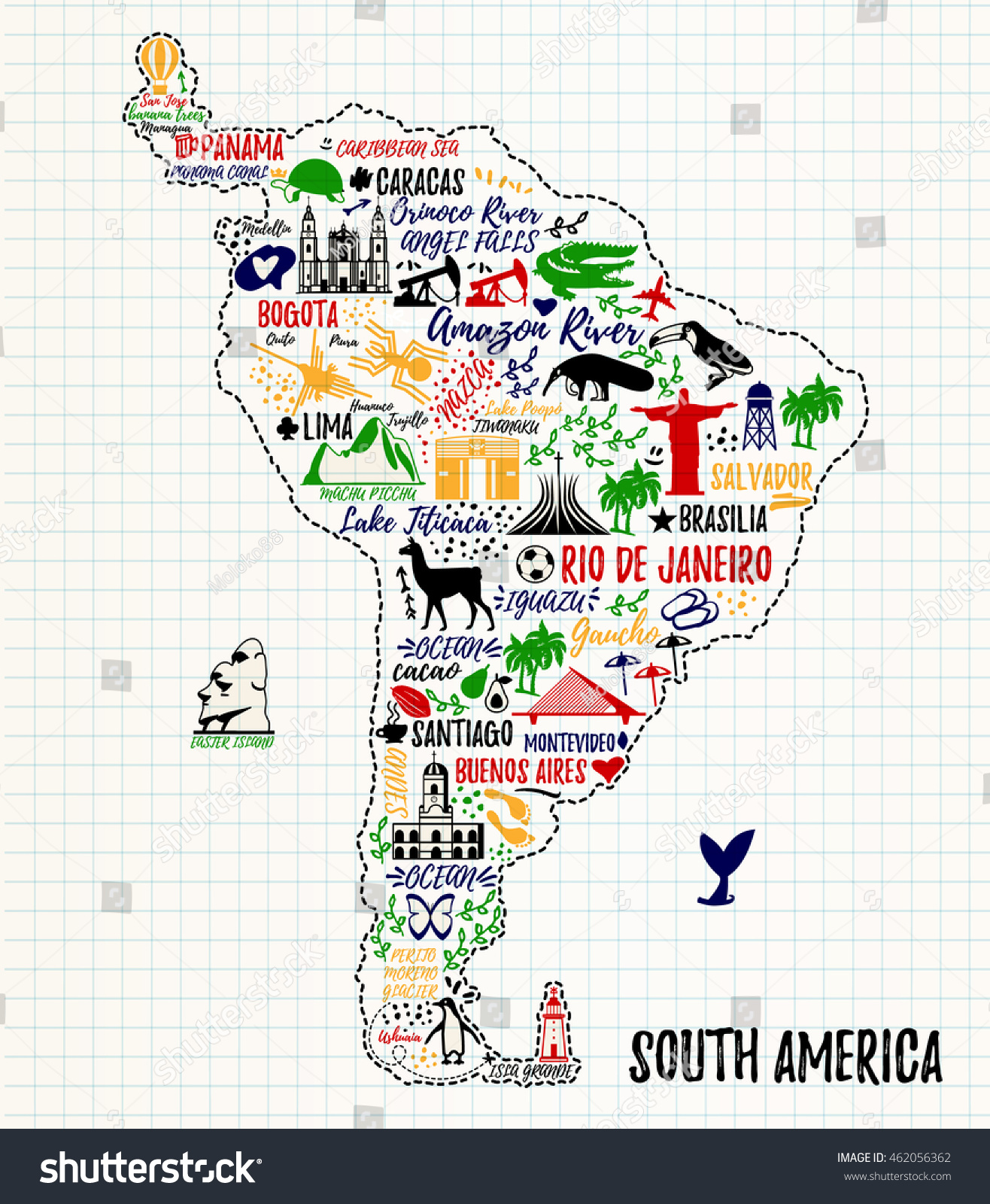 Typography poster south america map south vectores en stock south america map south america travel guide gumiabroncs Images