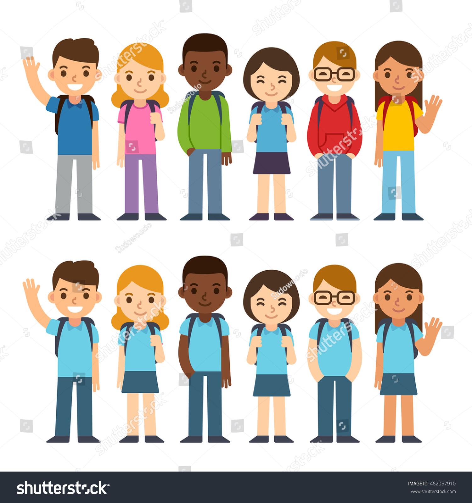 Diverse Set Children Backpacks School Uniform Stock Vector ...