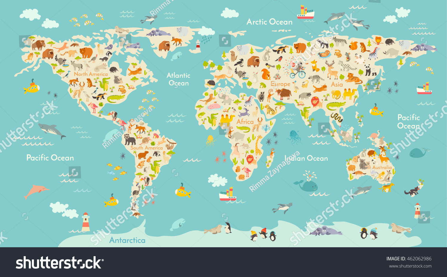 Map Animal Kid Continent World Animated Stock Vector Royalty Free
