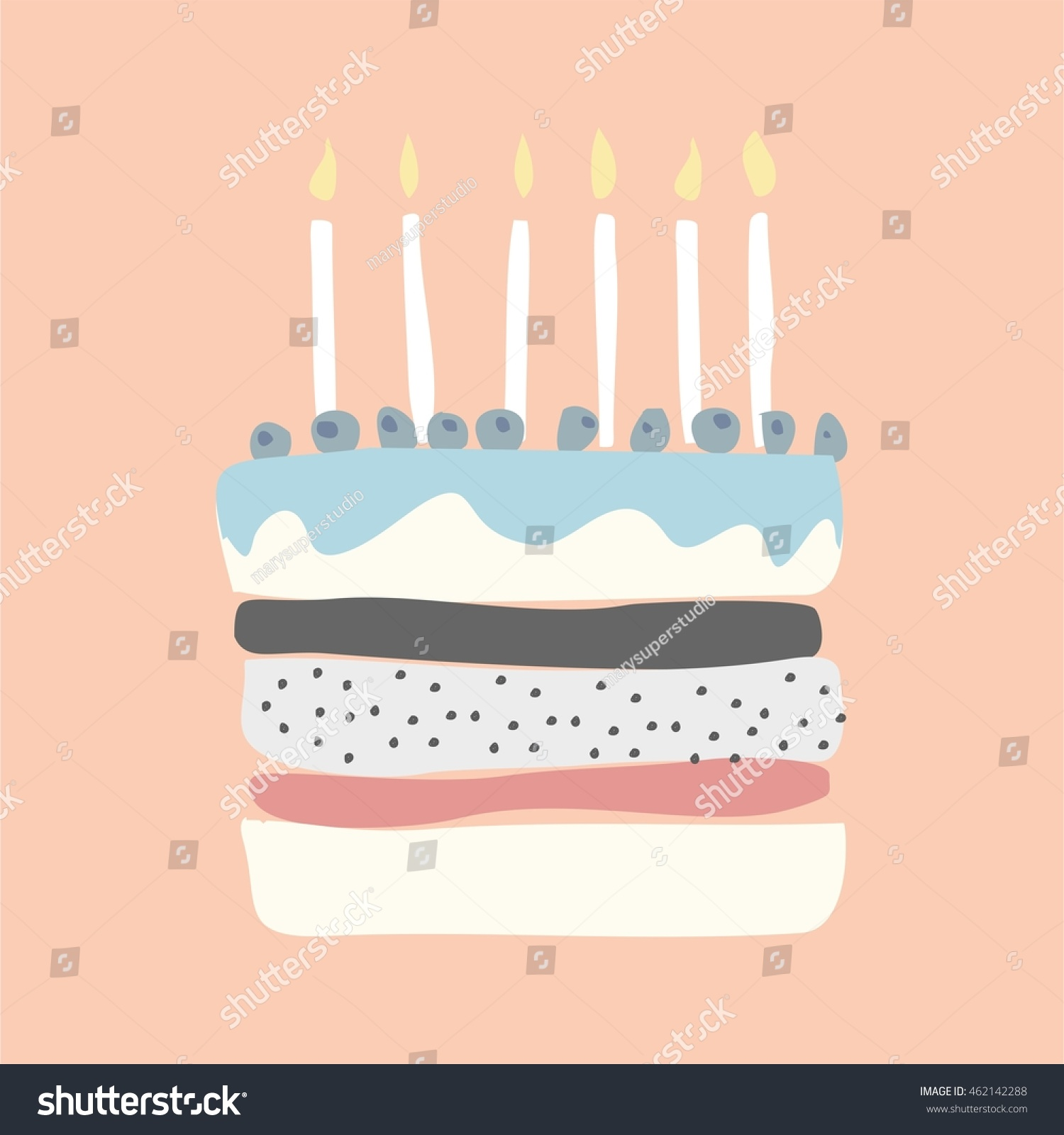 Cute Happy Birthday Card Cake Candles Stock Photo Photo Vector