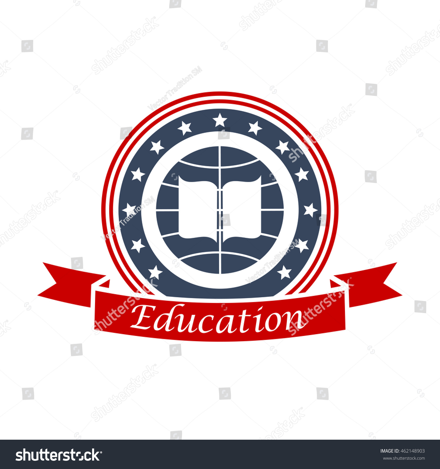 Education Emblem Design Book Globe Red Stock Vector (Royalty