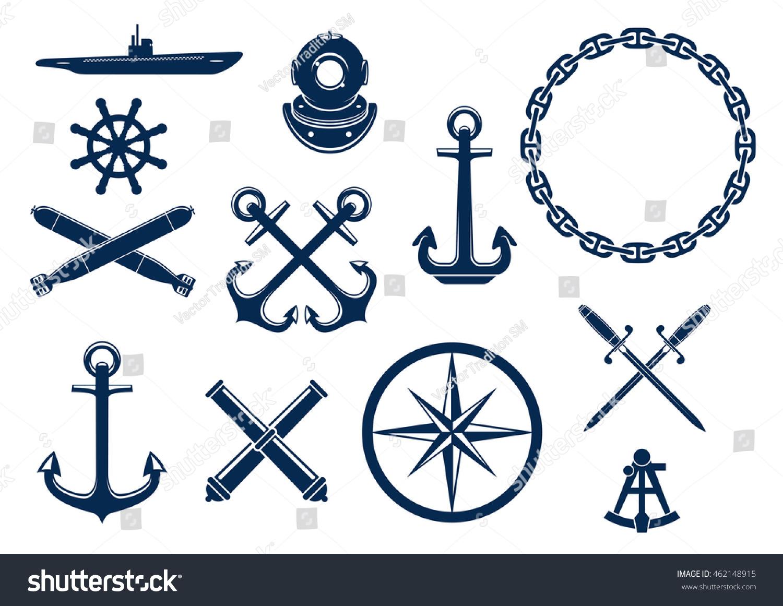 Nautical Symbols And Meanings Marine Nautical Flat I...