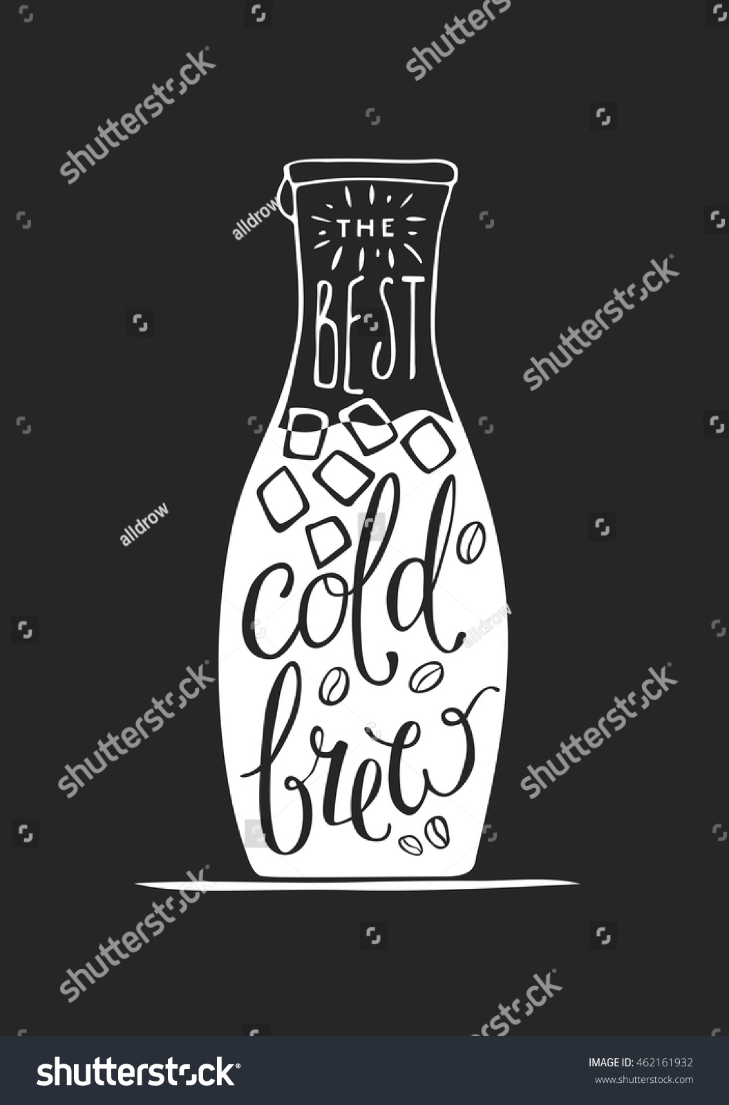 Hand Draw Lettering About Coffee In Vector. The Best Cold Brew