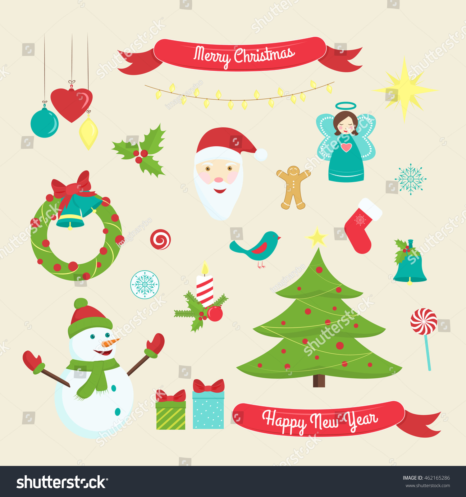 Christmas new year decoration symbols xmas stock vector 462165286 christmas and new year decoration symbols xmas design elements isolated on beige background biocorpaavc