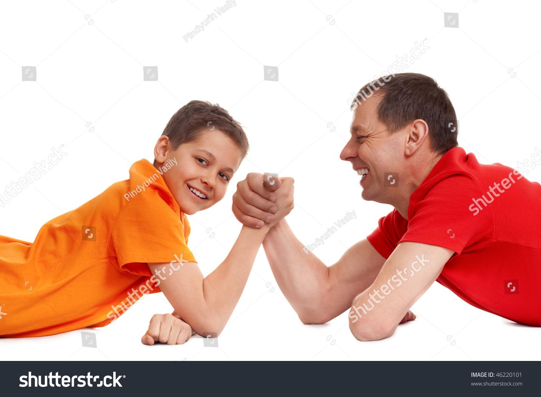 Arm Wrestling Father Son On White Stock Photo Royalty Free