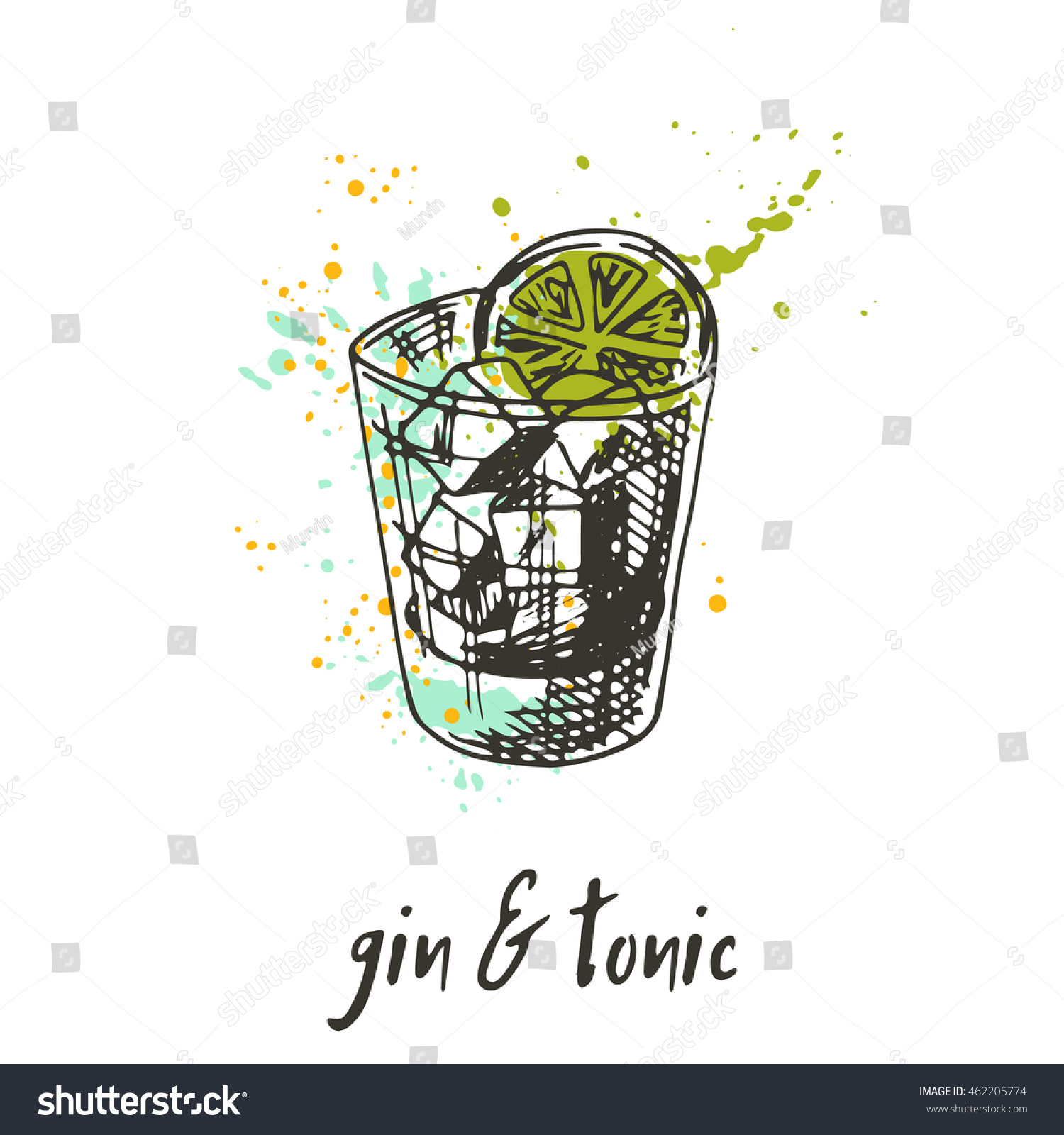 Gin Tonic Cocktail On Watercolor Splash Stock Vector ...