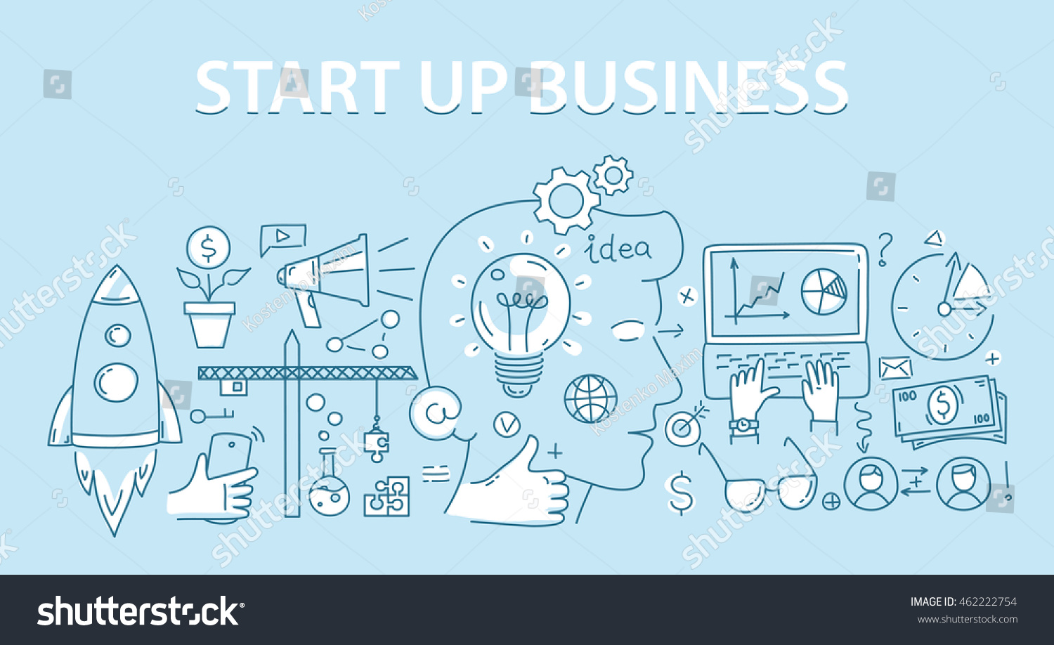 Line style design concept of start up business stock for How to start a home decor line