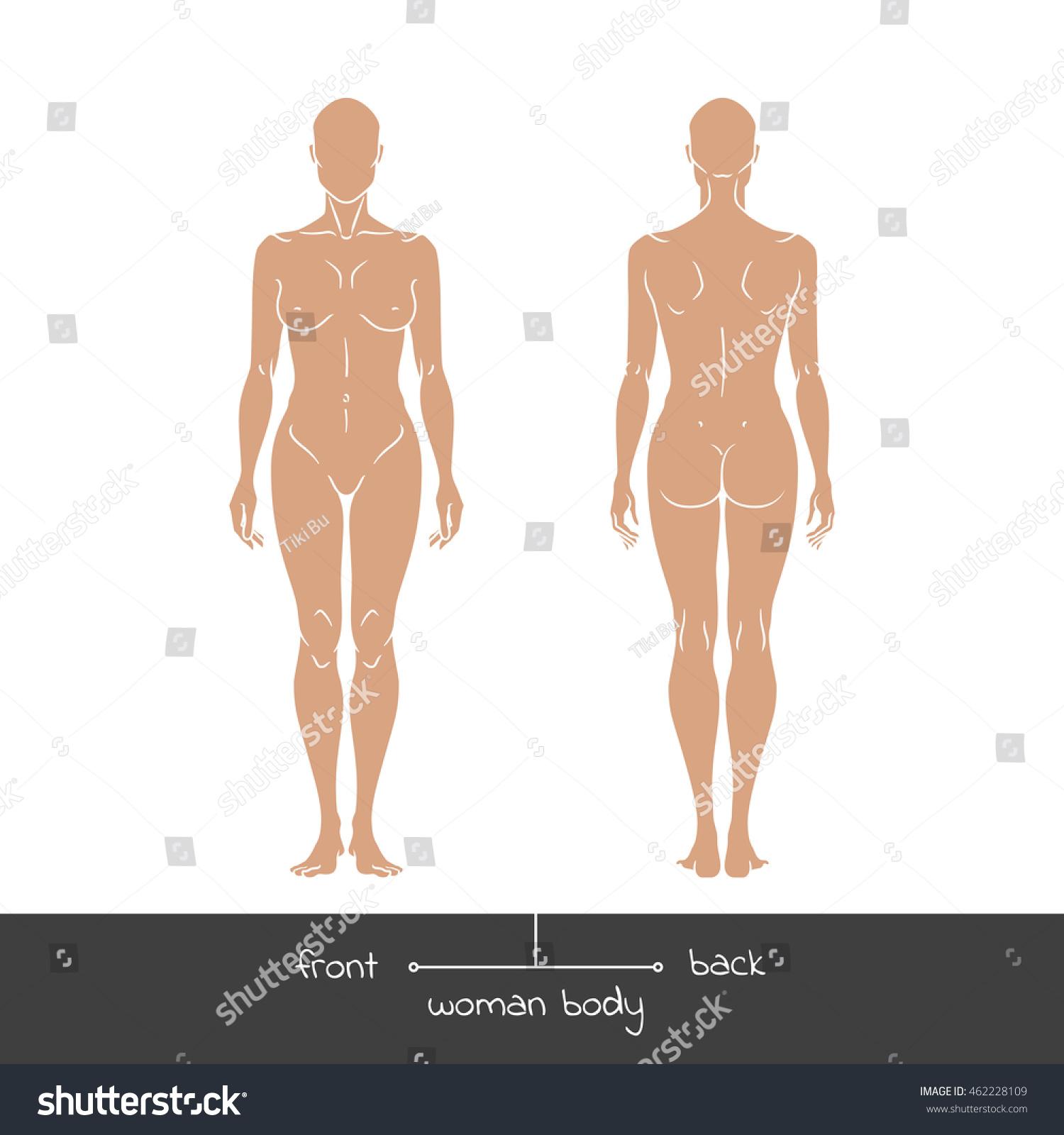 Muscular Young Woman Front Back View Stock Vektorgrafik Lizenzfrei