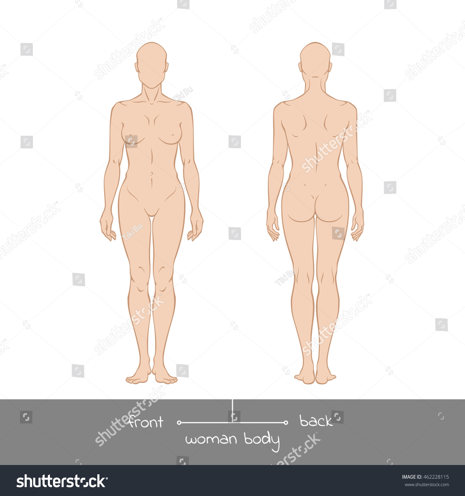 Muscular Young Woman Front Back View Stock Vector Royalty Free