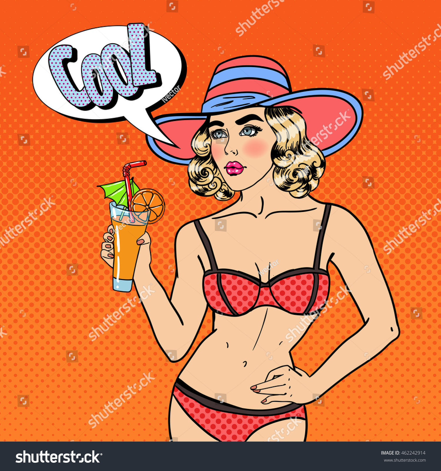 81fc93801a Beautiful Young Woman in Swimsuit with Cocktail. Pop Art. Vector ...